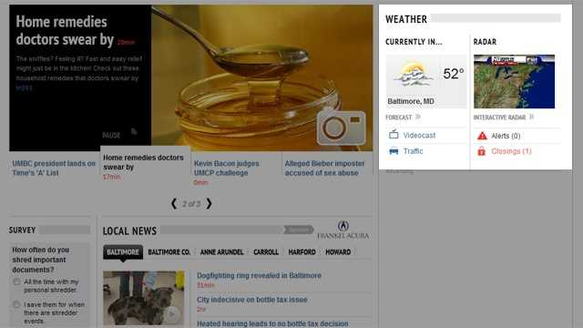 Need a quick glance at the weather? It's right up top on the home page, showing you the live current conditions, an HD Doppler radar snapshot, and links to the most popular weather content. You can also monitor severe weather alerts and school closings as they come in to the 11 Newsroom.