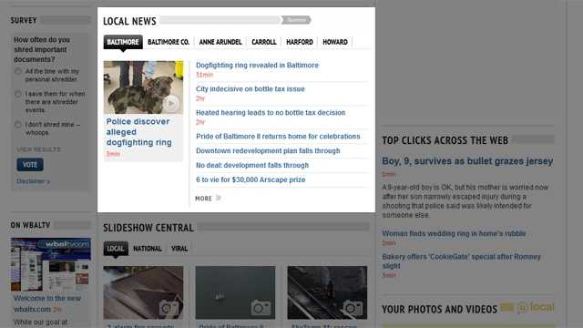As you scroll down the home page, you'll find more than today's top stories. Keep in touch with news breaking in your neighborhood all day, every day. See the stories we're working on for 11 News, organized by county and Baltimore City.