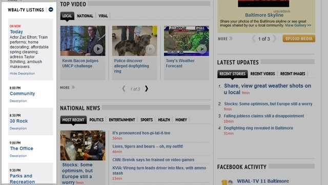 On the left side of the home page, see what's coming up on WBAL-TV 11, and keep track of your favorite shows.