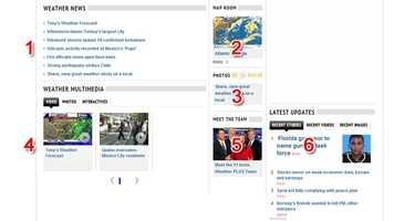 Then, when you scroll down lower on the weather page, you'll find, (1), the latest weather headlines, (2), our Map Room full of weather graphics, (3), u local weather, where you can share photos and video of the weather conditions where you are, (4) the latest weather and forecast videos, (5), our team of 11 Insta-Weather PLUS meteorologists, and, (6), you're never far away from the latest news headlines, videos and photos, no matter which page you click on.