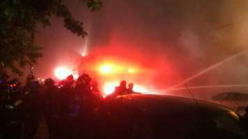 Baltimore City fire Capt. Roman Clark said firefighters were called to the 1000 block of Baylis Street, where a two-story warehouse ignited with heavy fire shortly after 8:30 p.m.