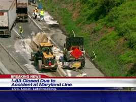 A tractor-trailer that is leaking a substantial amount of fuel on northbound Interstate 83 has closed down the highway near the Maryland-Pennsylvania border, police say.