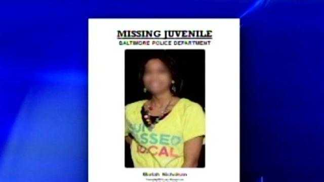 This is a flier distributed by the Baltimore police public affairs unit to the media as a favor to Detective Daniel Nicholson, who is under suspension pending an investigation into his actions when his daughter disappeared. The director of the public affairs unit has since called the action inappropriate.
