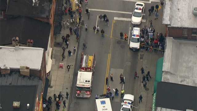 A man stabbed in west Baltimore is hospitalized.