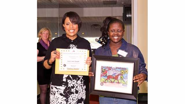 Out of 122 entries, Lashe Speight, a sixth-grade student at Cross Country Elementary/Middle School in northeast Baltimore, wins the grand prize in the Preakness Portraits Youth Art Contest. | Maryland Jockey Club