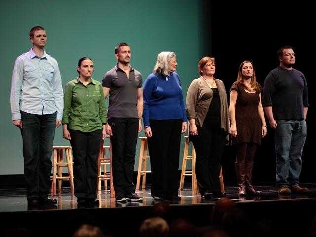 (From left to right) Navy veteran Jeremy Johnson&#x3B; active duty Army medic Erin Byers&#x3B; Marine Corps veteran Elijah Sacra&#x3B; Tracy Miller, mother of Marine killed in action in Fallujah, Iraq, in 2004&#x3B; Army veteran Cate Conroy&#x3B; Meghan Young, military wife&#x3B; Marine Corps veteran Patrick Young. | Photo courtesy Josh Davidson