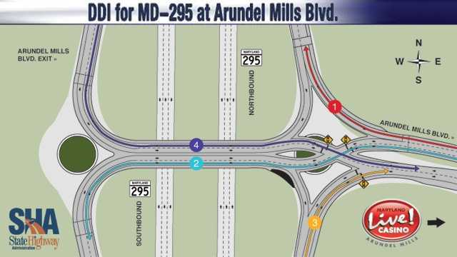 Diverging Diamond Interchange - Maryland Route 295 at Arundel Mills Boulevard