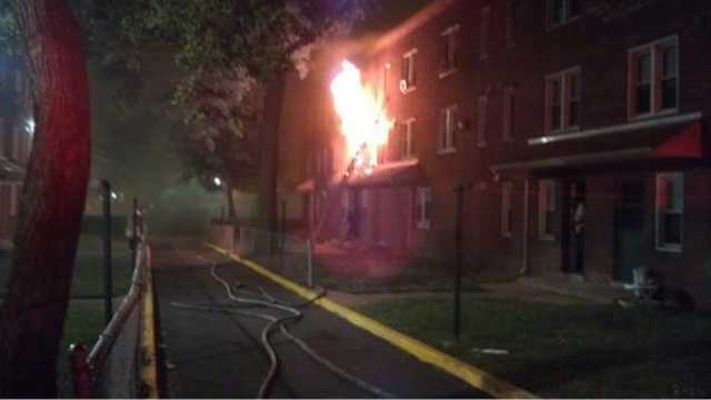 The fire ignited at about 2:30 a.m. Sunday in the 806 W. Lexington St. | Photo: Nick Eid, recon2photos