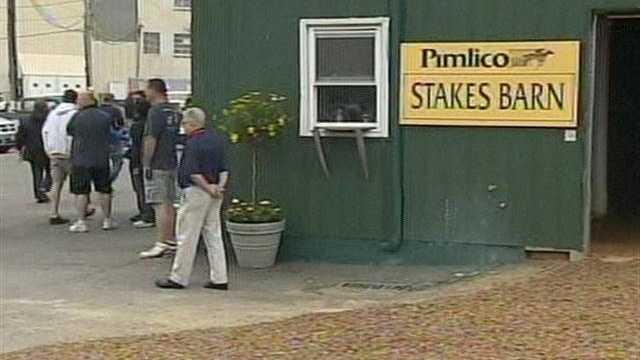 The Derby winner usually stays in Barn 40 at Pimlico, but I'll Have Another is staying in Stall 17 of Barn D on the Pimlico Backstretch. | Photo: WBAL-TV\Bob Lyon