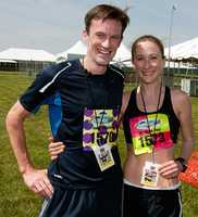 Neville Davey and his girlfriend, Heather Tanner, both of Menlo Park, Calif., win this year's race. Tanner beat out two-time female defending champion Sherry Stick by 40 seconds.   Photo: Jerry Dzierwinski, Maryland Jockey Club