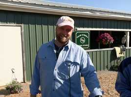I'll Have Another trainer Doug O'Neill at Stakes Barn D a week before the Preakness.   Photo: WBAL-AM\Scott Wykoff