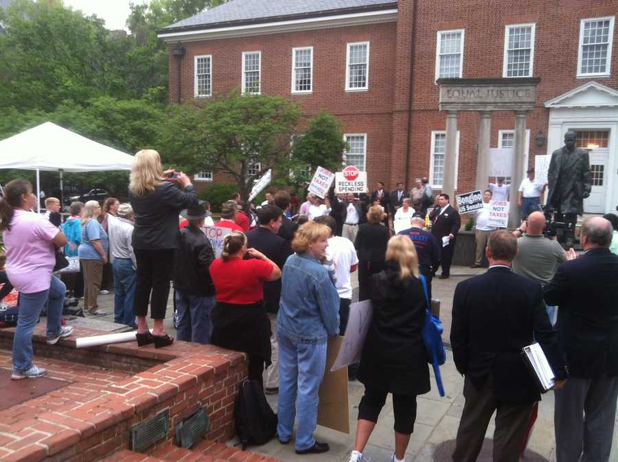 """""""What we're concerned about is Maryland is not living within its budget. I have to live within mine,"""" said Al Reasin, a protester against higher taxes. (Photo: WBAL-TV\David Collins)"""