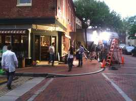 """Meanwhile, film crews are out and about in Annapolis shooting an independent film, """"Better Living Through Chemistry."""" (Photo: WBAL-TV\David Collins)"""