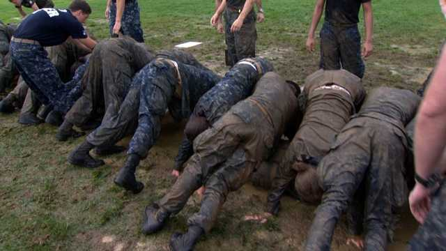 """""""It really tests their teamwork and their peer leadership within themselves, and it's just really to work as a team,"""" said Midshipman Dylan Kim."""