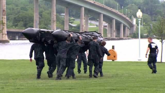 This task forces plebes to run around carrying this raft above their heads.