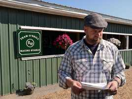 I'll Have Another trainer Doug O'Neill arrives at Pimlico. |WBAL-AM\Scott Wykoff