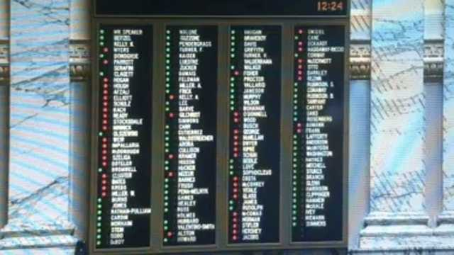 Delegates cast their votes on Senate Bill 1301, the reworked budget proposal passed by the Senate the previous day.