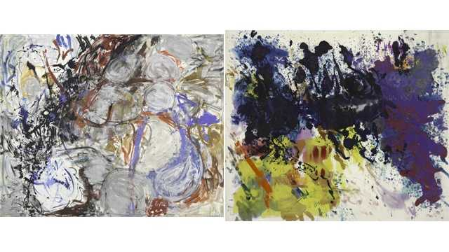 Morris Louis: Untitled 5-76 (1956, left)&#x3B; Silver III (1953, right)