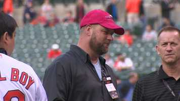 I'll Have Another trainer Dave O'Neill throws the first pitch at the May 15 Orioles-Yankees game.