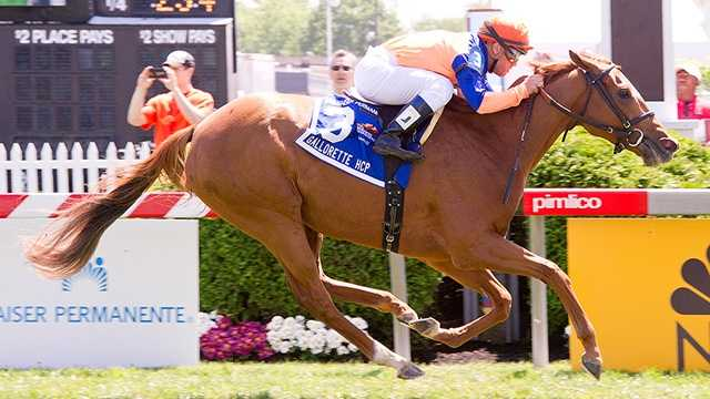 Zagora finds all the room needed in the stretch to launch a rally and win the $150,000 Gallorette Stakes.