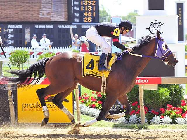 Baileys Beach pressed the action, drew even and then pulled away to win the $25,000 Deputed Testamony Stakes.