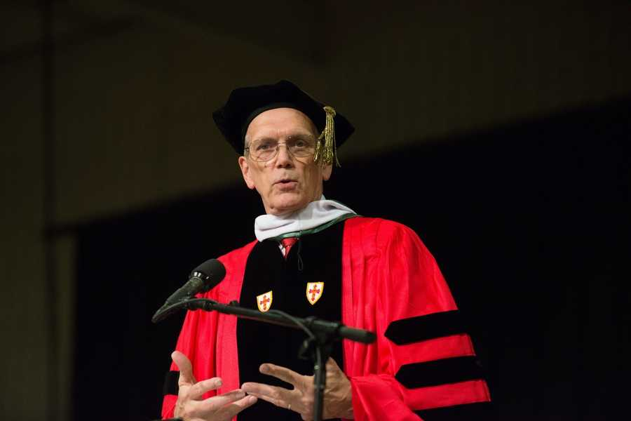 ... and Dr. Edwin Welch, president of the University of Charleston in W.Va., a 1965 alumnus of McDaniel.