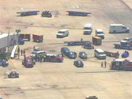 Officials at Baltimore-Washington International Thurgood Marshall Airport are investigating after a smoking piece of baggage was discovered Thursday.