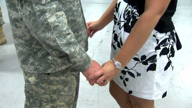 The guard members and their families converged on the Aberdeen Proving Ground armory in the Edgewood area on Friday.