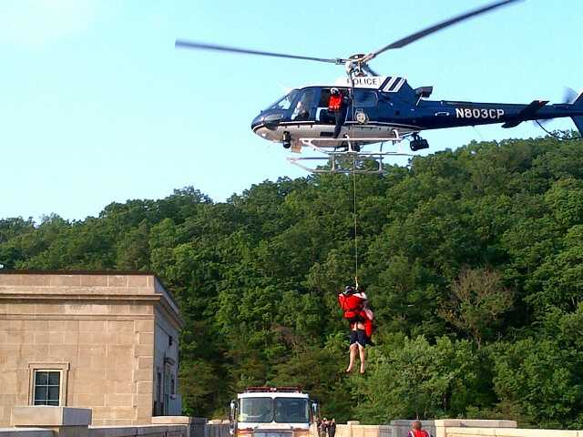 The Baltimore County Fire Department said a 24-year-old man walked across the dam about 5:30 p.m. Sunday but wasn't able to get past the spillway where the water exits.