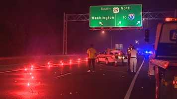 Police shut down westbound Route 100 at U.S. Route 29, where a motorcyclist crashed.