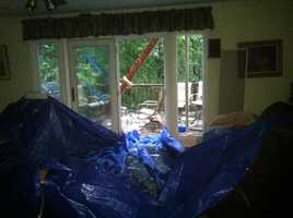 Inside a home hit by a tree in Finksburg.