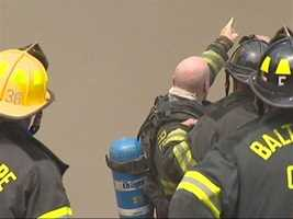 Firefighters were forced to fight the blaze from the outside after the building's roof collapsed.