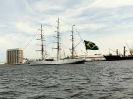 The tall ship from Brazil making it's way through Baltimore Harbor