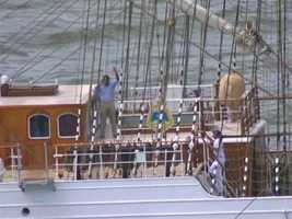 Here's Sheldon waving to SkyTeam 11 during a live report on 11 News at Noon on Wednesday, as the Cisne Branco sailed under the Key Bridge.