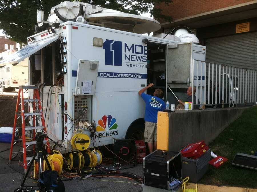 WBAL-TV's satellite truck set up and ready to broadcast Wednesday night's two-hour special on WBAL-TV and WBAL Plus.