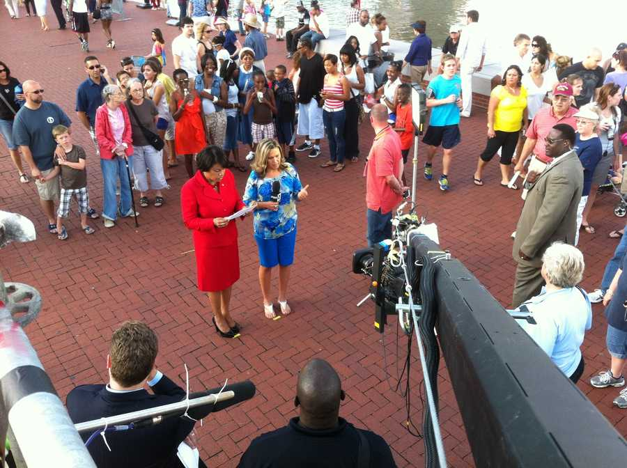 Using the jib cam's height advantage, WBAL-TV 11 photographer Mike French shows Baltimore Mayor Stephanie Rawlings-Blake at her live interview during the WBAL-TV/MPT special.