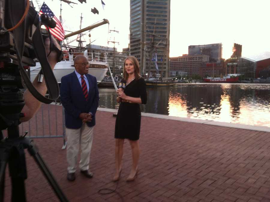 Behind the scenes during Ava's liveshot.