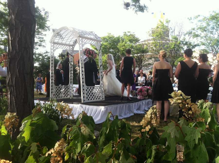 WBAL-TV 11 News reporter David Collins happened upon this beautiful wedding while touring the Sailabration festivities.