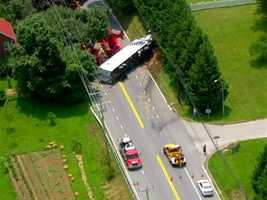 The road was closed for cleanup, and traffic has been diverted onto Route 140.