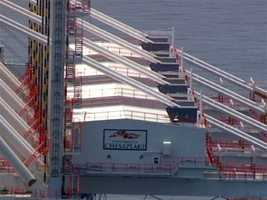 A vessel delivering cranes to the Port of Baltimore has contributed to traffic delays Wednesday.