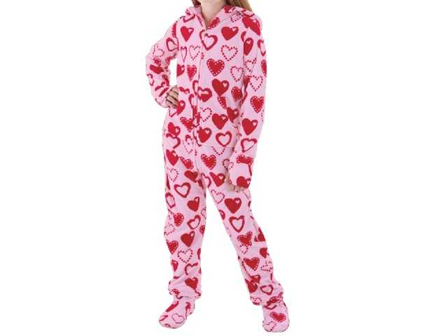 The polyester fleece pajamas run from size 12 months to 4T in boys and 5 through 14 in girls.
