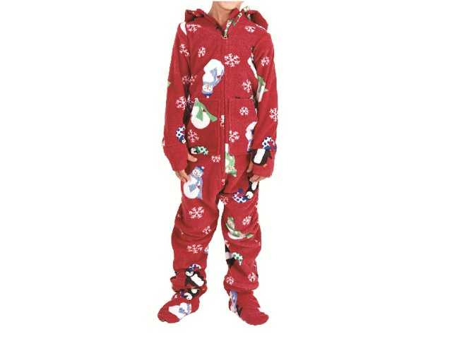 "The pajamas -- which have ""PajamaGram"" printed on the neck tag -- come in two styles: one-piece hood-and-feet pajamas and two-piece sets."