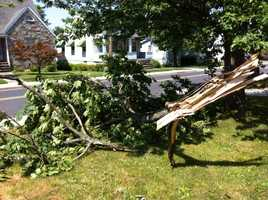 Damage in Overlea, Baltimore County.
