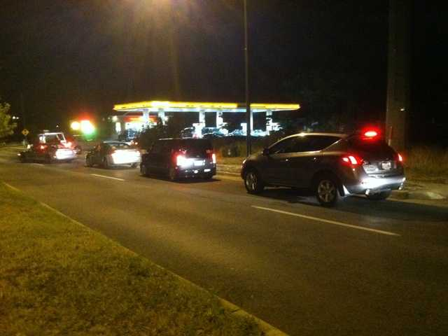 Some gas stations lost power and couldn't dispense fuel, leaving drivers to line up at others that were in service.