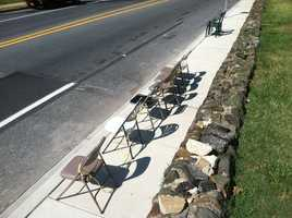 The chairs are put out for the parade weeks in advance.