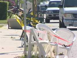 Some of the chairs were put out before Friday's storms, but they only suffered a little bit of damage.