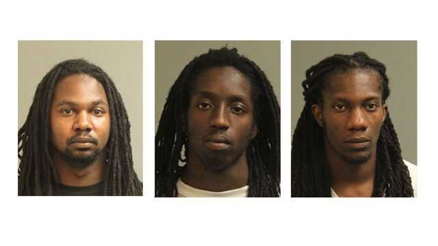 Police said 26-year-old Bernard Vernoa Lathern and 20-year-old Malik Kendall Bangbeor, both of Washington, D.C., and Tron Cornelius Scipio, 32, of Greenbelt, Md. were arrested and charged with robbery and related offenses.