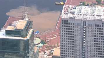 The water carried mud into the Inner Harbor in the area of the Atrium.