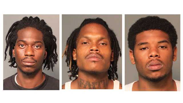 Police said 23-year-old Akeem Harris, 20-year-old Bruce Barrie and 18-year-old Vincent Lewis were arrested and charged with armed robbery, robbery and related charges. (pictured left to right)