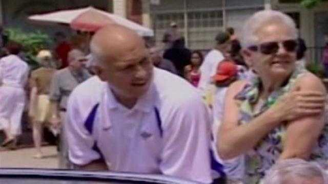Cal Ripken Jr. with mother, Violet, during a parade.